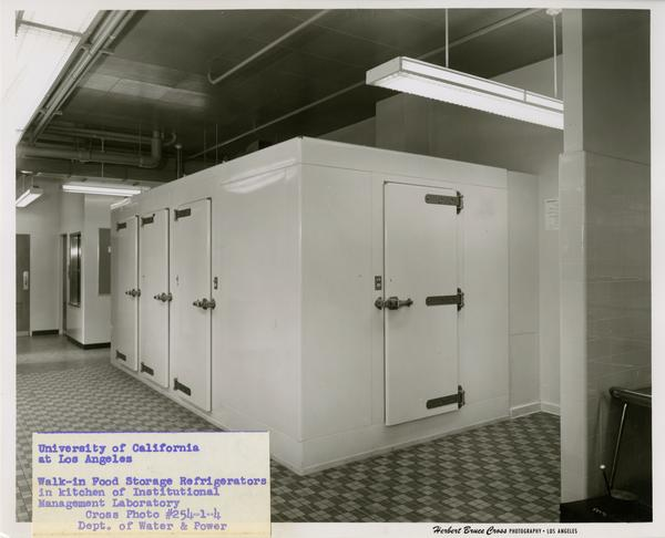 View of walk-in refrigerators in Instituional Management Lab