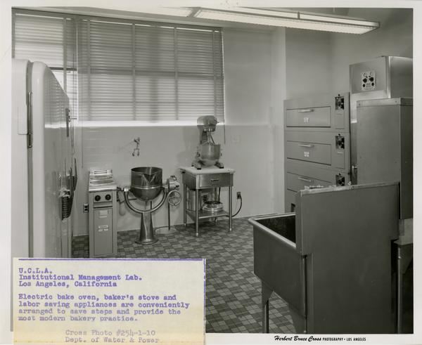 View of baking equipment in kitchen of Institutional Management Lab