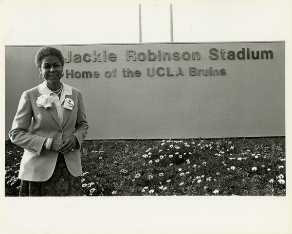 View of Jackie Robinson Stadium sign, 1981