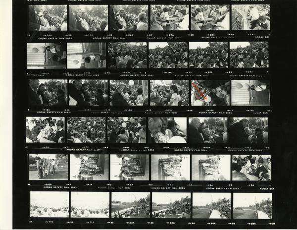 Contact sheet of Jackie Robinson Stadium dedication, February 7, 1981