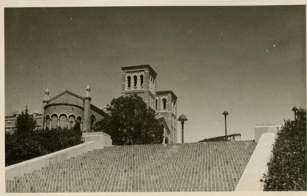 Postcard with view of Janss Steps and Royce Hall, ca. 1942