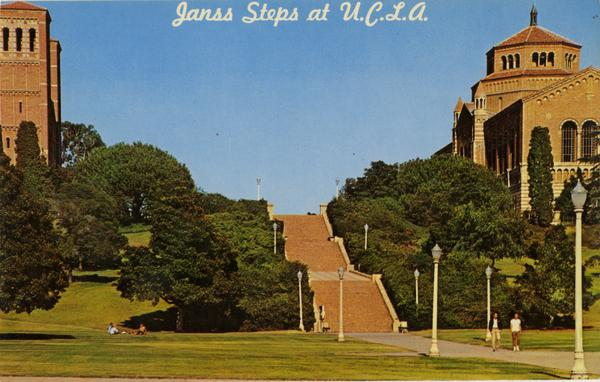 Post card with view of Janss Steps, Royce Hall, and Powell Library, ca. 1960