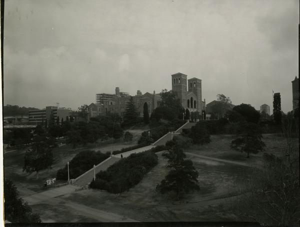 View of Janss Steps and Royce Hall, ca. 1962