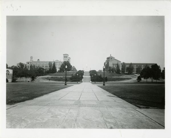 View of Janss Steps, Royce Hall, and Powell Library