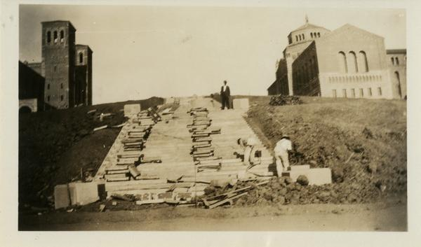 View of Janss Steps during construction, September 23, 1929