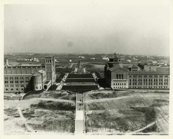 View of Janss Steps, Royce Hall, and Library