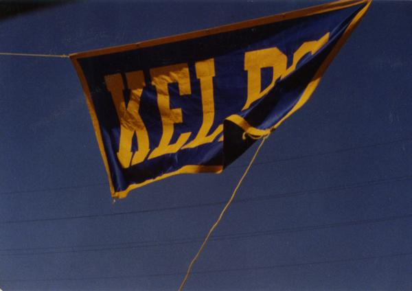 Close up of KELPS banner flapping