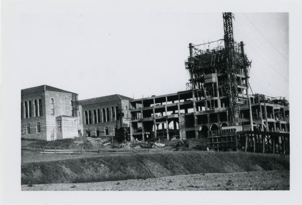 View of Kerckhoff Hall during construction, ca. 1930
