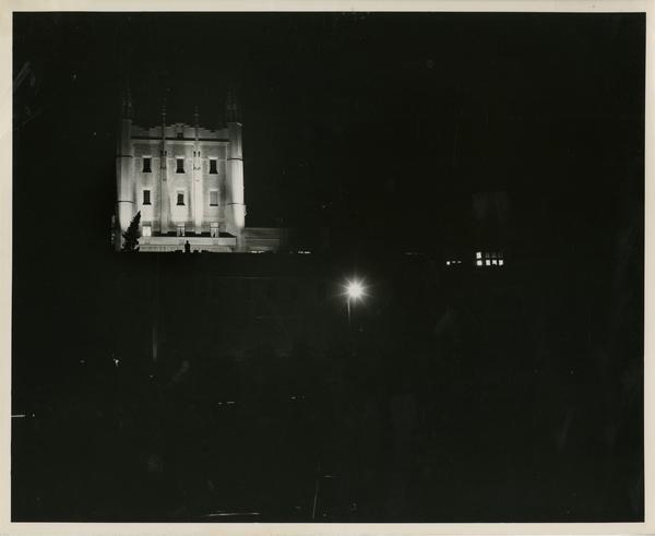 View of Kerckhoff tower at night