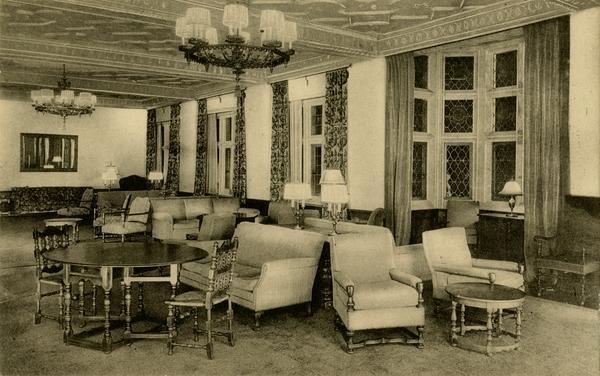 Postcard showing Women's Club Room in Kerckhoff Hall