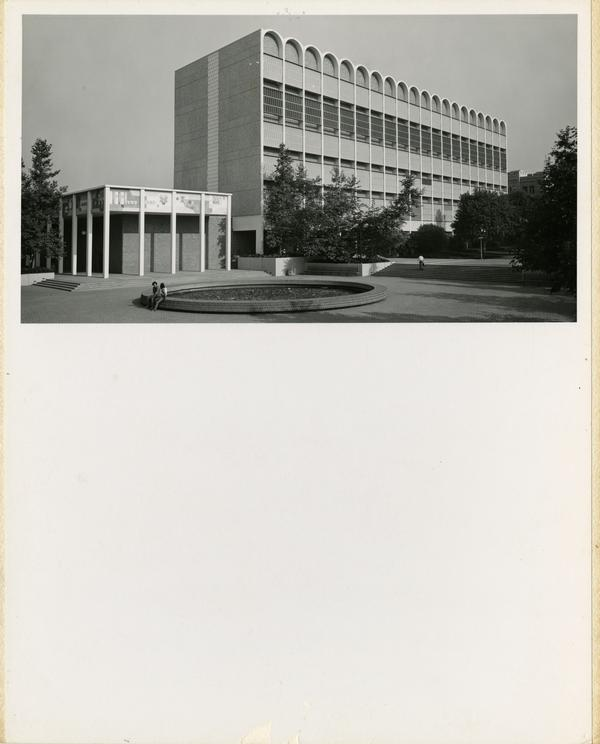 View of Knudsen Hall and the inverted fountain, July 1973