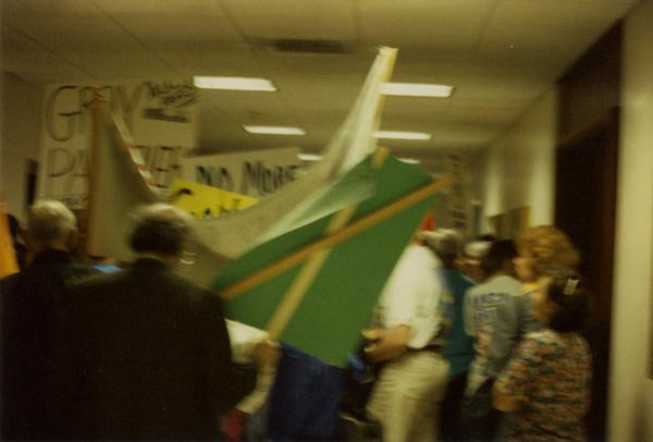 Participants march through hallways during Labor Union Rally, 1993