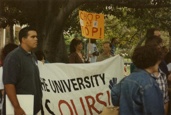 Participants march in front of Murphy Hall during Labor Union Rally, 1993