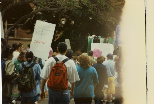 Participants march during Labor Union Rally, 1993