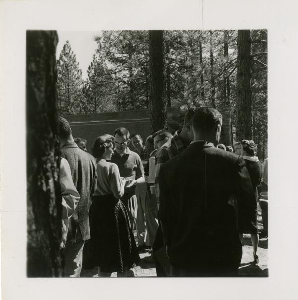 Event attendees gather outside for a coffee break at Lake Arrowhead Lodge, March 1959