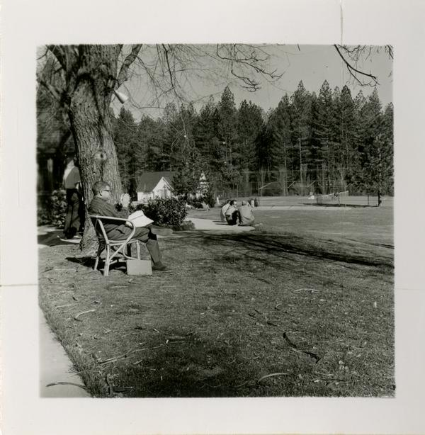 Event attendees spending time out on the grounds of Lake Arrowhead Lodge, March 1959