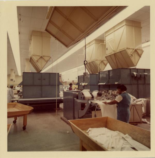 Employee working with the laundry in the UCLA Laundry Facility