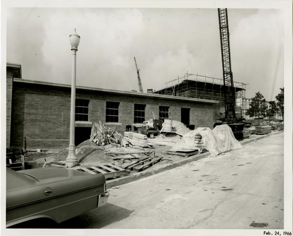 Law School building during construction, February 24, 1966