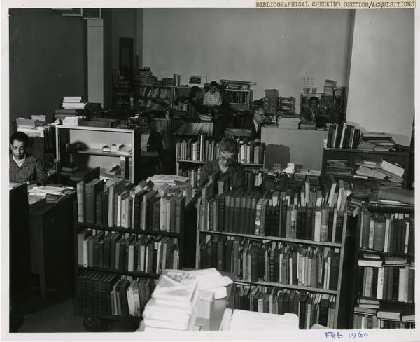 Staff working in Bibliographical Checking Section of Acquisitions Department