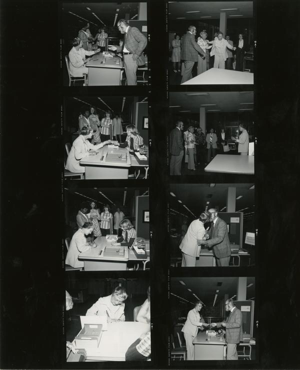 Contact sheet of images from the day the first library card was issued, June 6, 1977