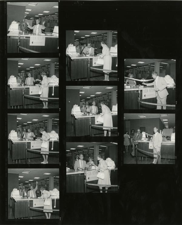 Contact sheet of images from the day the first library card was issued,July 25, 1977