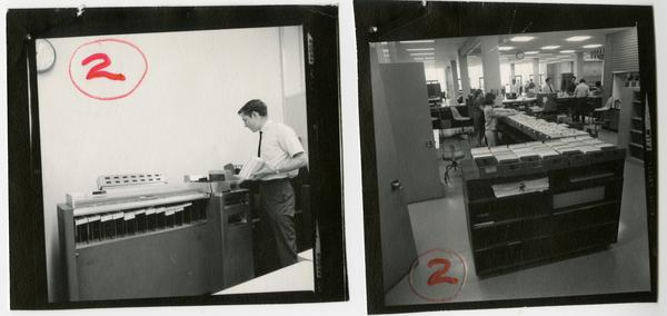 Two photos of Library circulation staff