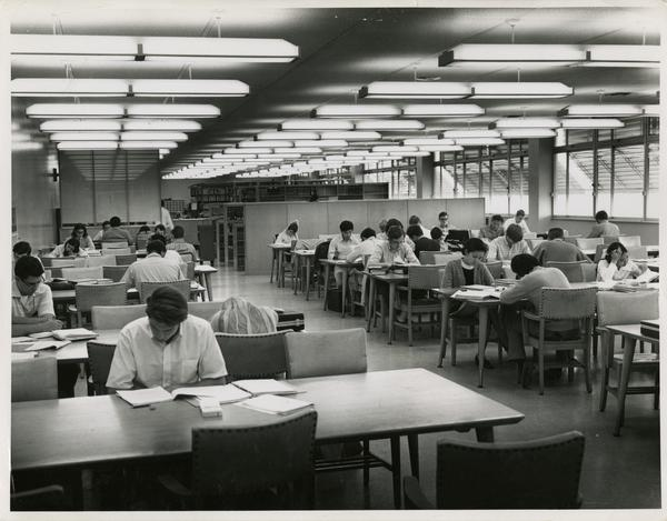 Students studying in Engineering Library in Boelter Hall, ca. 1952