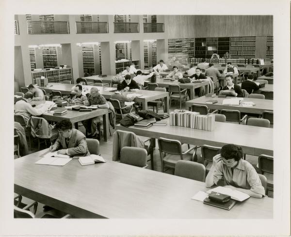 Students studying in Law School Library, ca. 1952