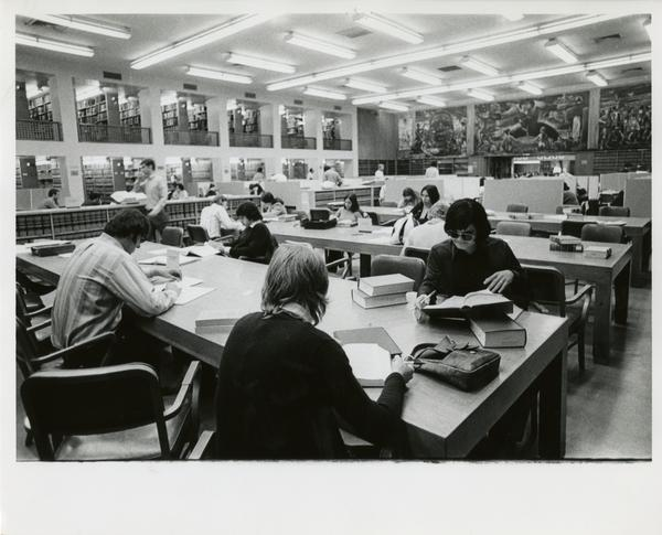 Students studying in Law School Library