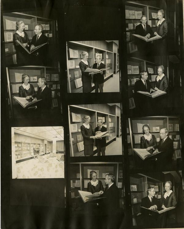 Contact sheet of Peggy Christian and Robert Vosper holding three millionth book accessioned, ca. 1971
