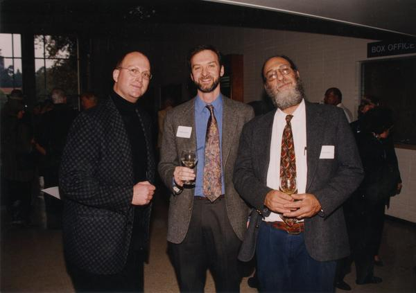 Music Library Staff: Tim Edwards, Stephen Davison, and Gordon Theil at Carol Burnett UCLA event, ca. 1998