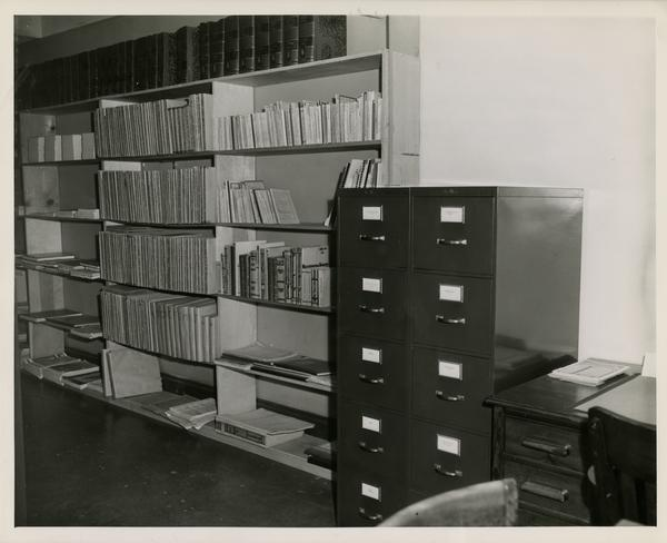 Shelves and file cabinets in Music Library, February 2, 1945
