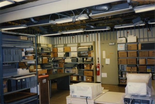 Library Special Collections processing area with interior view of ceiling