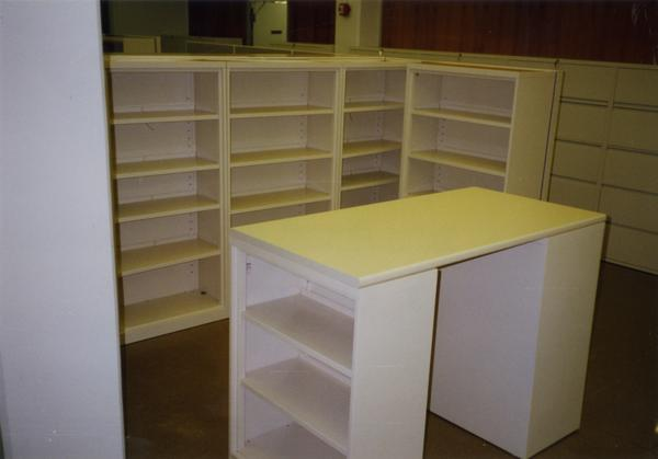 Shelves, drawers, and desk for Library Special Collections