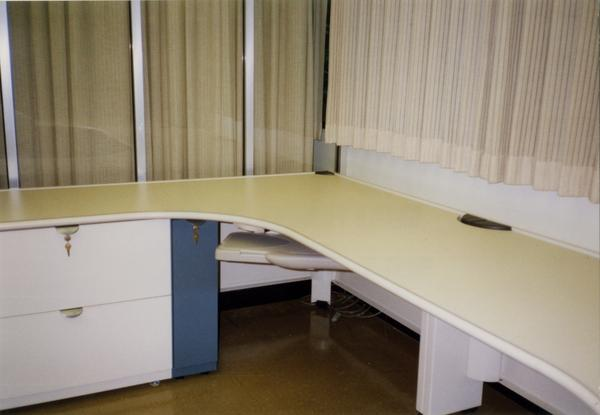Desk space in Library Special Collections during renovation