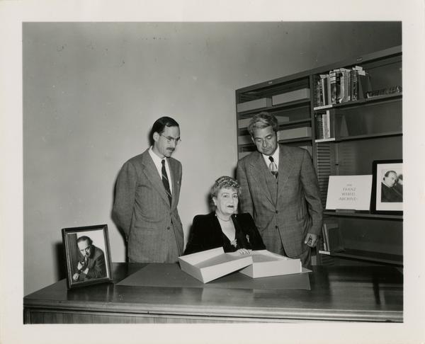 Robert Vosper, Mrs. Franz Werfel, and Gustave O. Arlt meeting in regards to Franz Werfel Archive