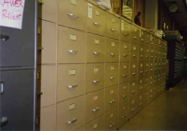 Filing cabinets in Library Special Collections, ca. 1997