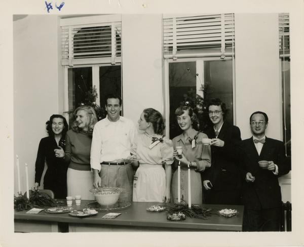 Library Christmas party given by Lawrence Clark Powell, ca. 1952