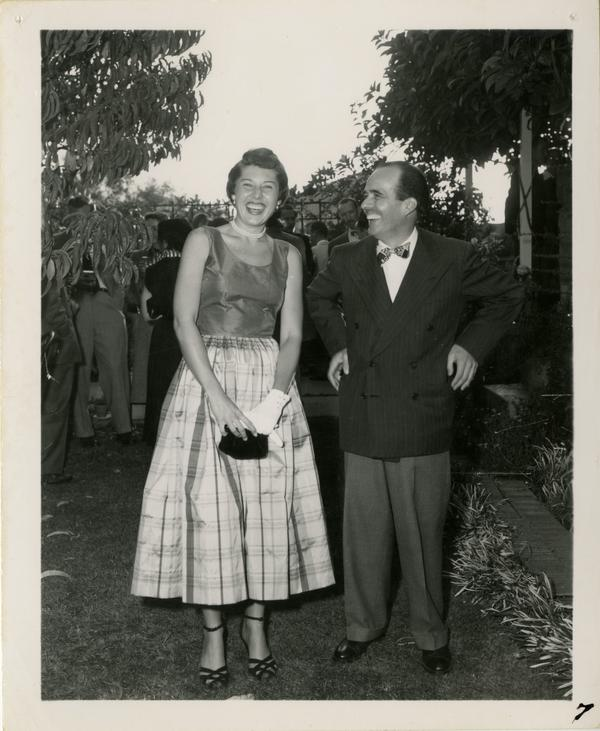 Lawrence Clark Powell posing with colleague
