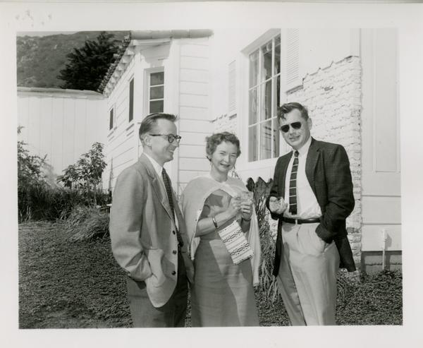 Everett Moore, Mrs. Jenkin, and Thomas Jenkin at party