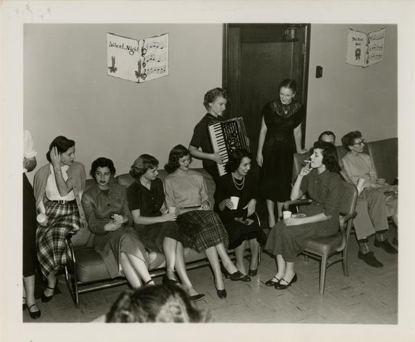 Library staff at Christmas party, 1951