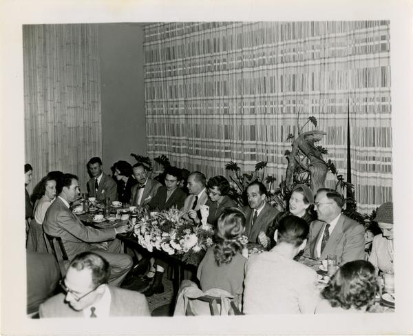 Library staff Christmas party, December 19, 1957