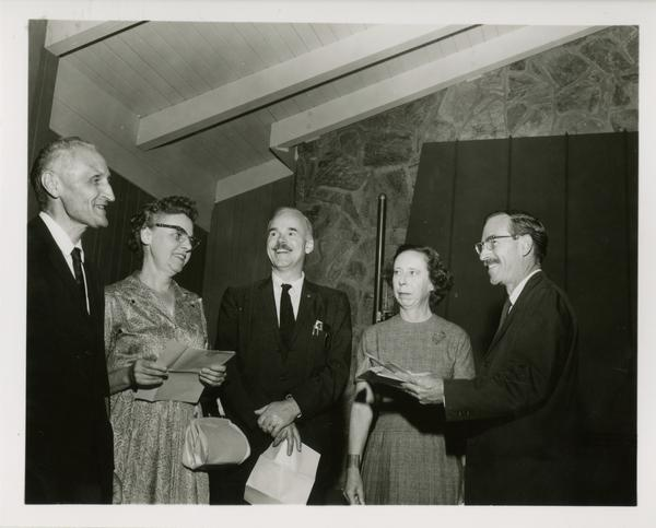 Robert Vosper, far right, with M. McCurdy, Esther Koch, Rudy Engelharts, and Dick O'Brien at Service Award pin presentation, October 10, 1961
