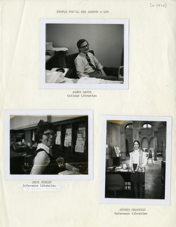 Staff portraits of James Davis, College Librarian; Mimi Dudley and Esther Grassian, Reference Librarians, ca. 1972