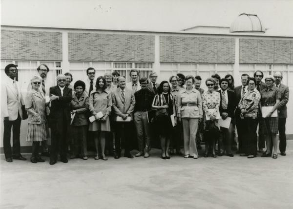 UCLA Library unit heads at Engineering Penthouse for Robert Vosper's retirement, ca. May 1973