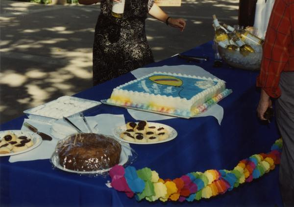 Refreshments and snacks at Library staff retirees party, ca. 1991