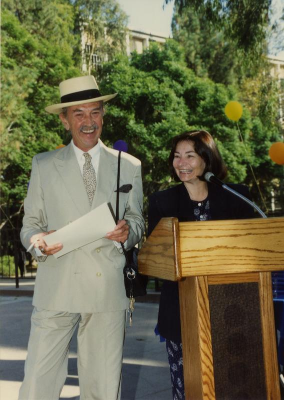 Library staff speaking at retirees party, ca. 1991