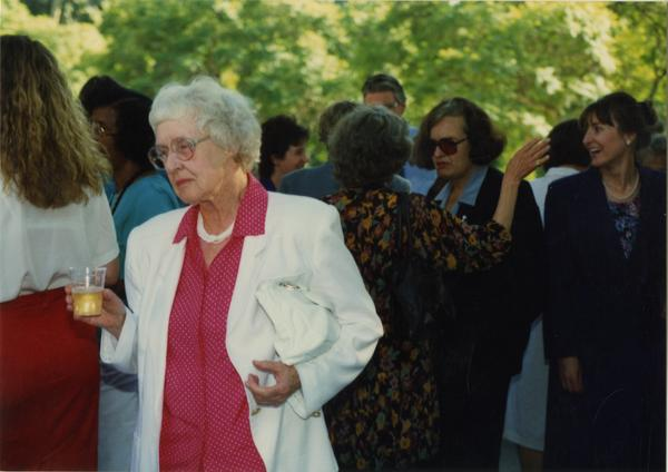 Crowds at the library staff retirement party, 1991