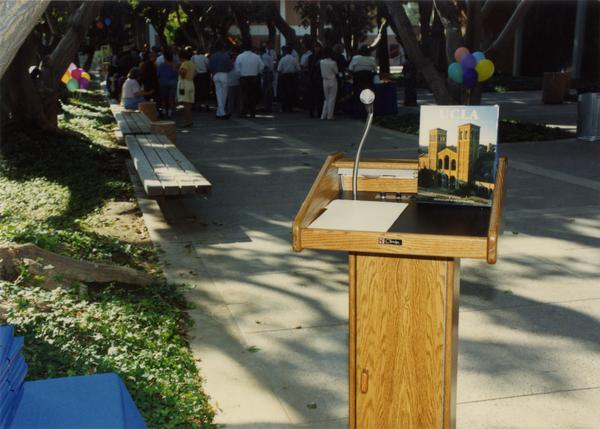 Empty podium at the staff retirement party, 1991