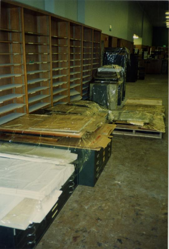 Packed up office equi[ment in room 390, Powell Library, ca. 1990's